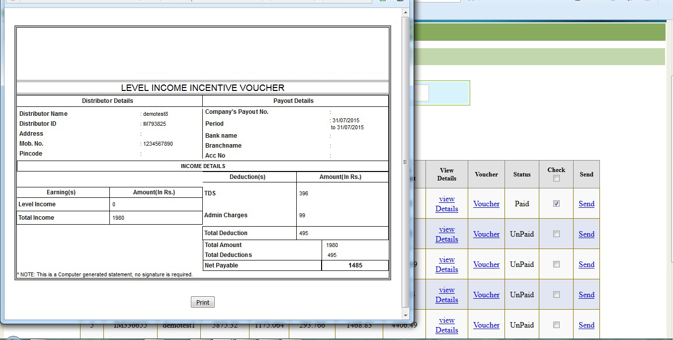 Repurchase MLM Software Bangalore - Demo for Repurchase Plan MLM